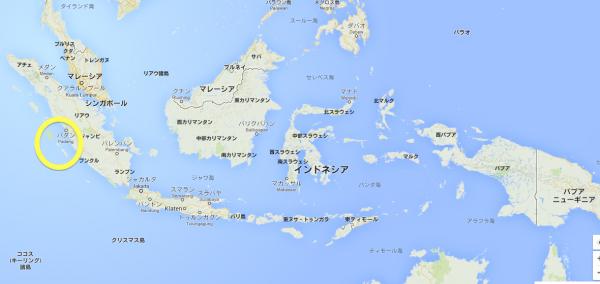 地図左のマルのなかがメンタワイ諸島です